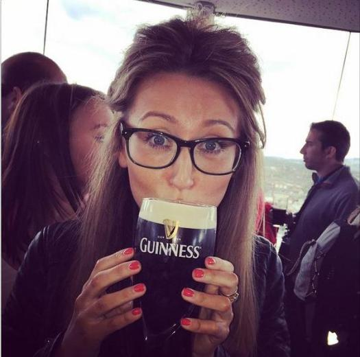 Guinness girl in specs