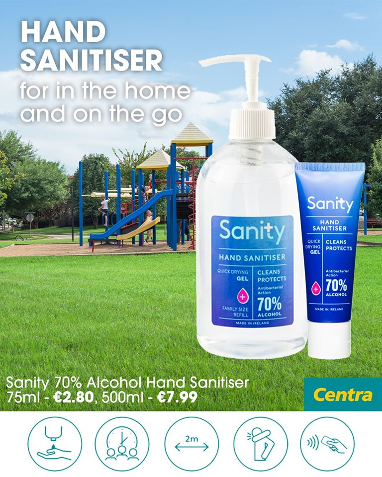 Centra sanity 70% alcohol hand sanitiser